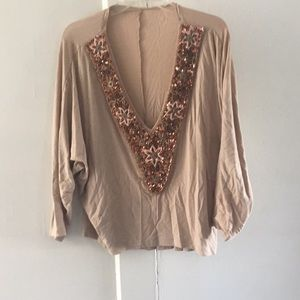 Gorgeous beaded deep v neck top